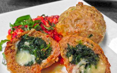 Spinach & Cheese Stuffed Turkey Meatballs