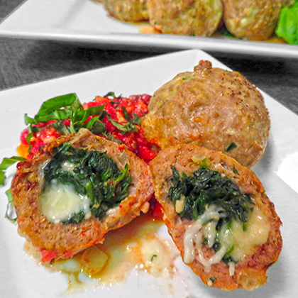 Spinach and Cheese Stuffed Turkey Meatballs